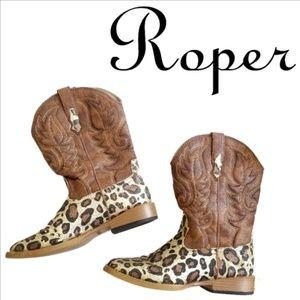 Roper Western Boots Girls Glitter Square Toe Brown